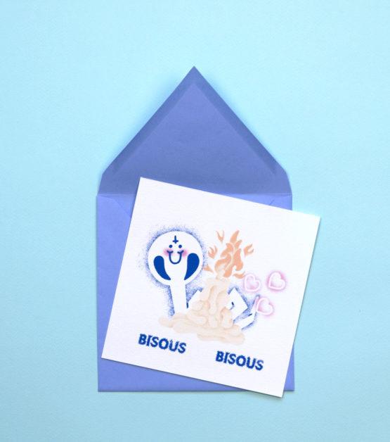 bisous bisous _ carte postale _ carte de vœux _ poste _ bougie _ serpent _ envois _ papeterie _ Arthur Plateau